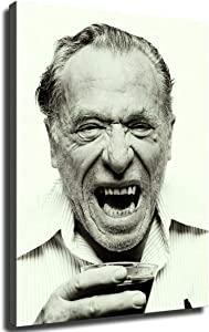 Charles Bukowski Poster Painting on Canvas Bedroom Wall Art Decoration Pictures Home Decor (12x18inch- Framed)