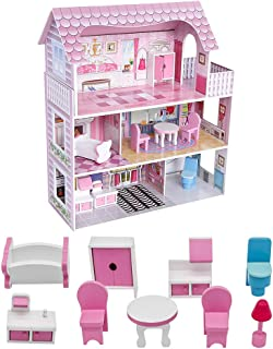 Wooden Dollhouse with Dollhouse Furniture Dream Doll House for Little Girls 5 Year Olds 1:12 Scale for Kids Pretend Play Doll House Toy Playset Perfect Toddler Girls and Kids' Toy with Accessories