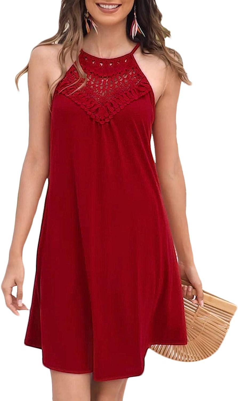 Sweetnight Womens Summer Sleeveless Halter Neck Lace Swing Tunic Tank Dress Casual Short Sundresses