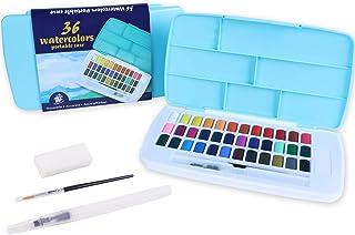 TBC The Best Crafts Set de Peinture Aquarelle, 36 Couleurs Boîte d'Aquarelle Inclus Pinceau Peinture et Stylo Pinceau Port...