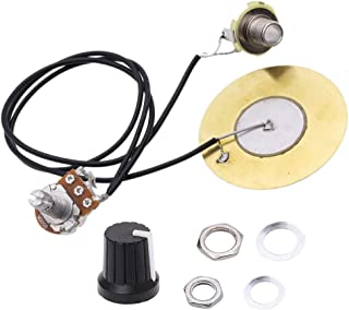 Onown Pickup Wiring Kit PIckup Piezo 50mm Sensitive Transducer Pickups Prewired Amplifier with 6.35mm Output Jack for Cigar Box Guitars and Acoustic Instruments