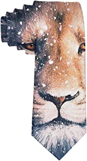 Cool Lion King Face Snow Art Formal Tie, Men Neckties Suit Accessories - Fashion Slim Party Suit Neckties