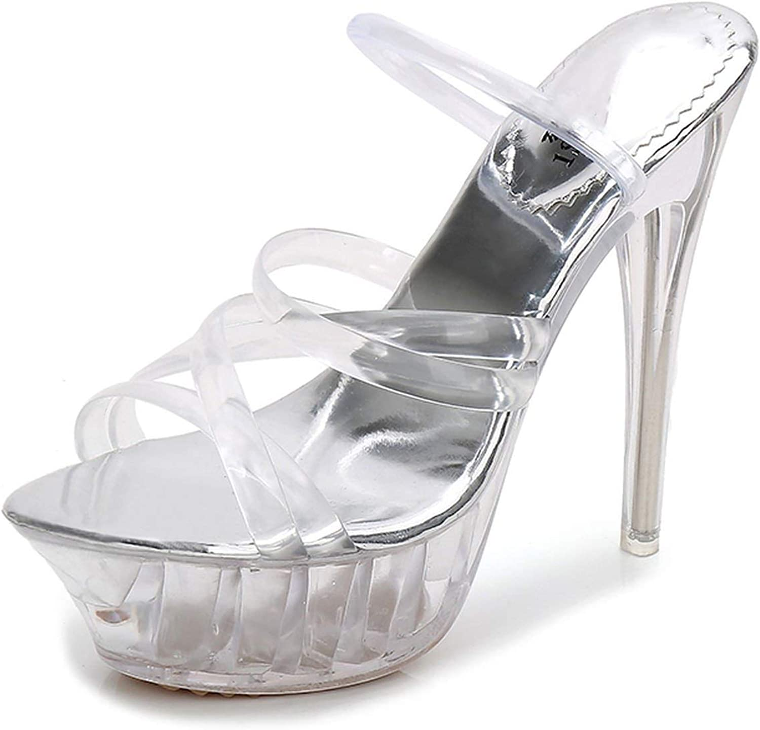 Sexy Crystal Transparent Sandals Ladies High Heeled Waterproof Platform Show Nightclub Sandals Women Slippers