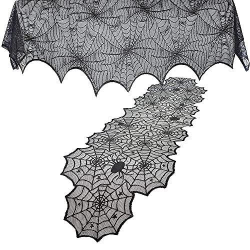 JOYIN - 2 unidades de bufanda para chimenea de Halloween, color negro (36 x 96 pulgadas) con funda...