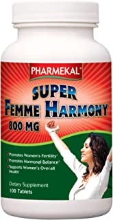 Pharmekal Super Femme Harmony, 100 Tablets, Dietary Supplement to Support Female Reproductive Health, 800 mg of Chaste Tree Powder per Tablet