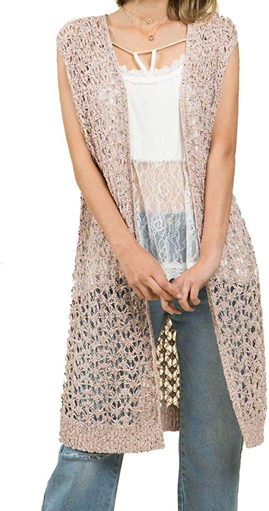 POL Clothing Womens Two-Tone Open Knit Vest Cardigan-Peach-Large