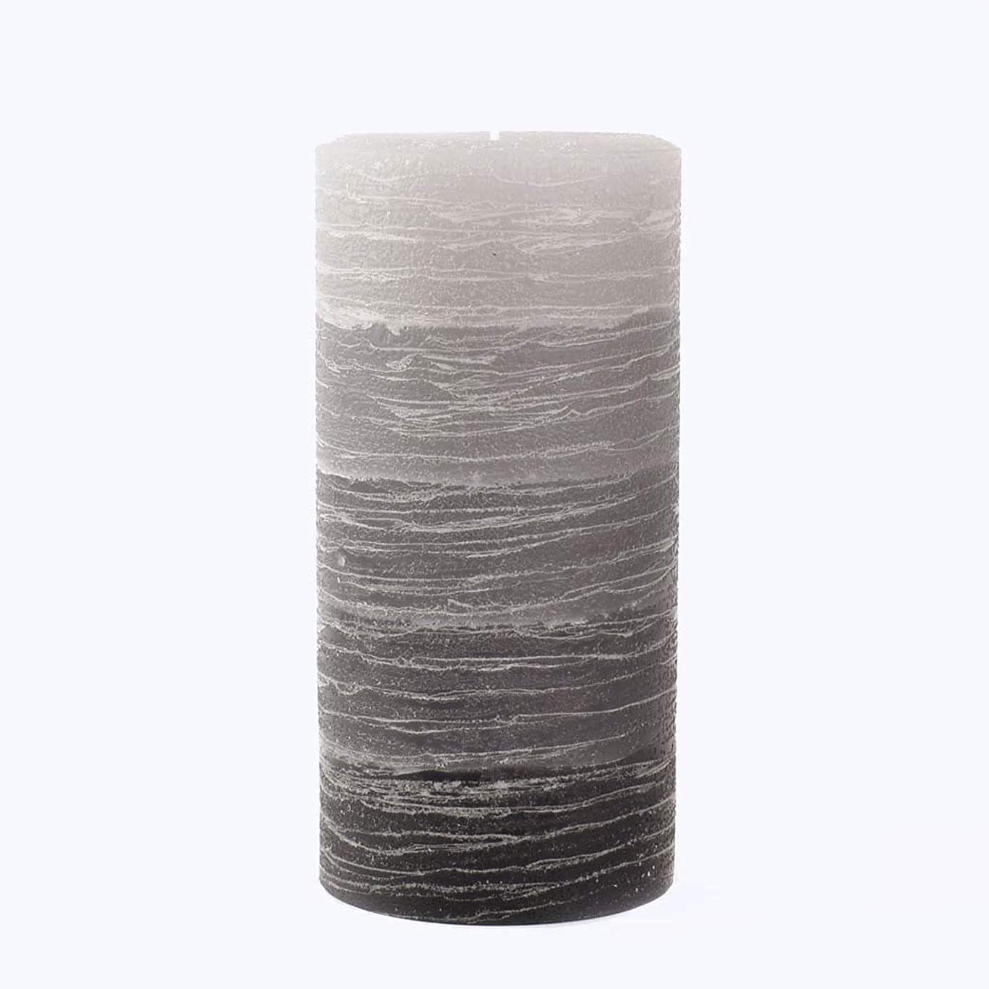Nordic Candle - Layered Pillar Candle - 3x6 Inch Gray - Unscented