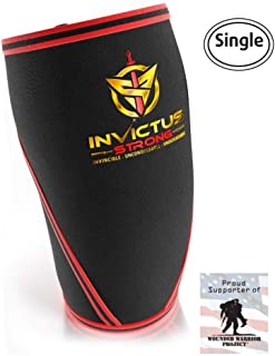 Knee Compression Sleeve Support Brace for Men & Women Crossfit-Invictus Strong 7MM Neoprene Knee Sleeves for Weightlifting Knee Sleeves Powerlifting Knee Brace for Meniscus Tear Pain Re-1 Wrap, Large