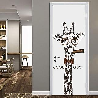 Girafe noir et blanc 3D auto-adhésive Poster DIY photo murale auto-adhésive PVC papier peint étanche-77cm(W)*200cm(H)