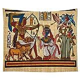 KHKJ Farbiger Wandteppich im ägyptischen Stil Wandbehang Mandala Pharao Tagesdecke Throw Hippie Cover Art Dekorativ A14 95x73cm