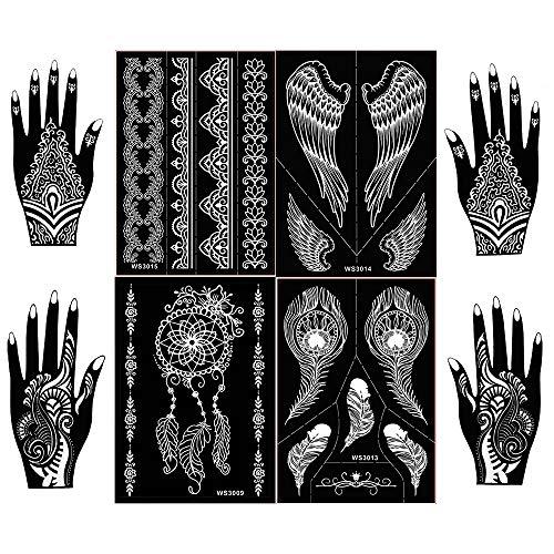 8 Sheets Henna Tattoo Stencil Kit,Semi Permanent Tattoo,Indian Arabian Tattoo Stickers Mehndi Stencils Body Art Designs for Hands