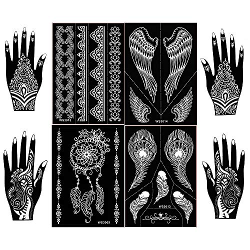 8 Sheets Henna Tattoo Stencil Kit,Semi Permanent Tattoo,Indian Arabian Tattoo Stickers Mehndi Stencils Body Art Designs for Hands