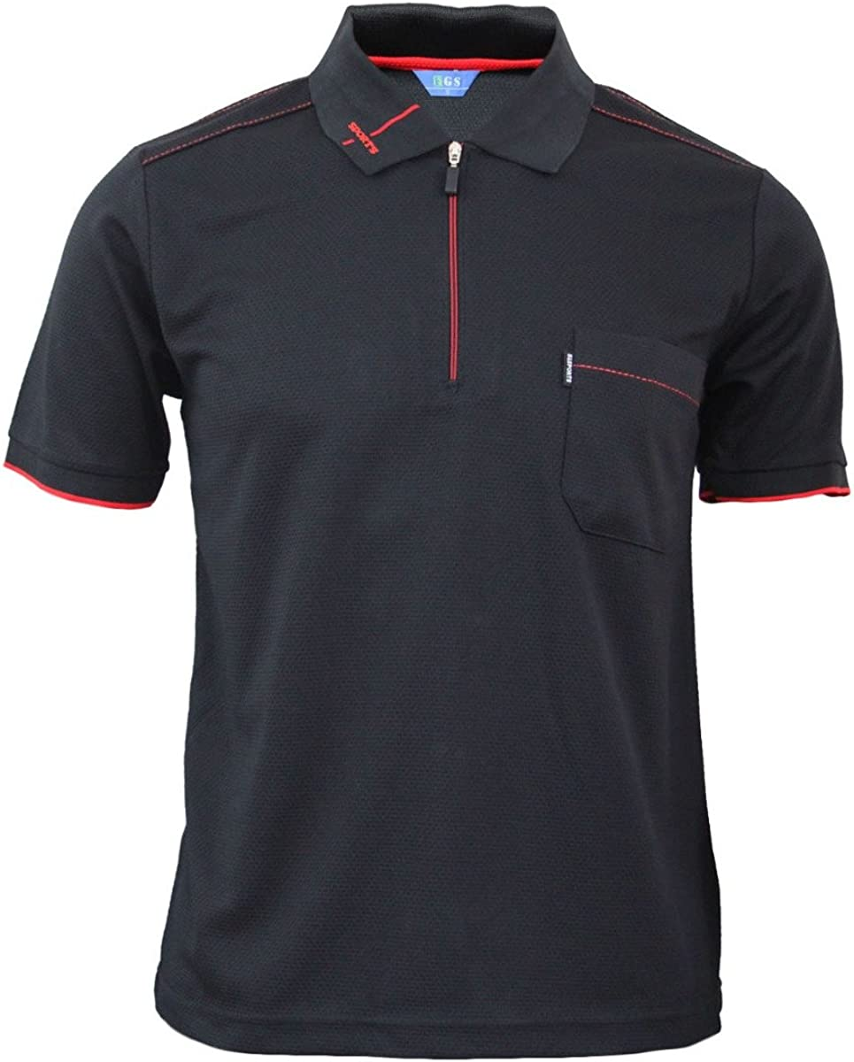 BCPOLO Men's Zip Polo Shirt Short Athletic S Year-end New sales gift Dri Fit Sleeve