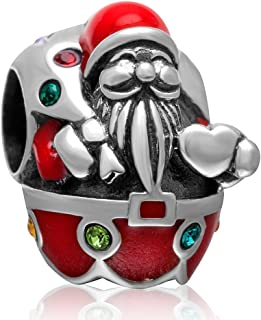 Christmas Santa Claus Colorful Crystal Charm 925 Sterling Silver Bead Fits European Brand Charms