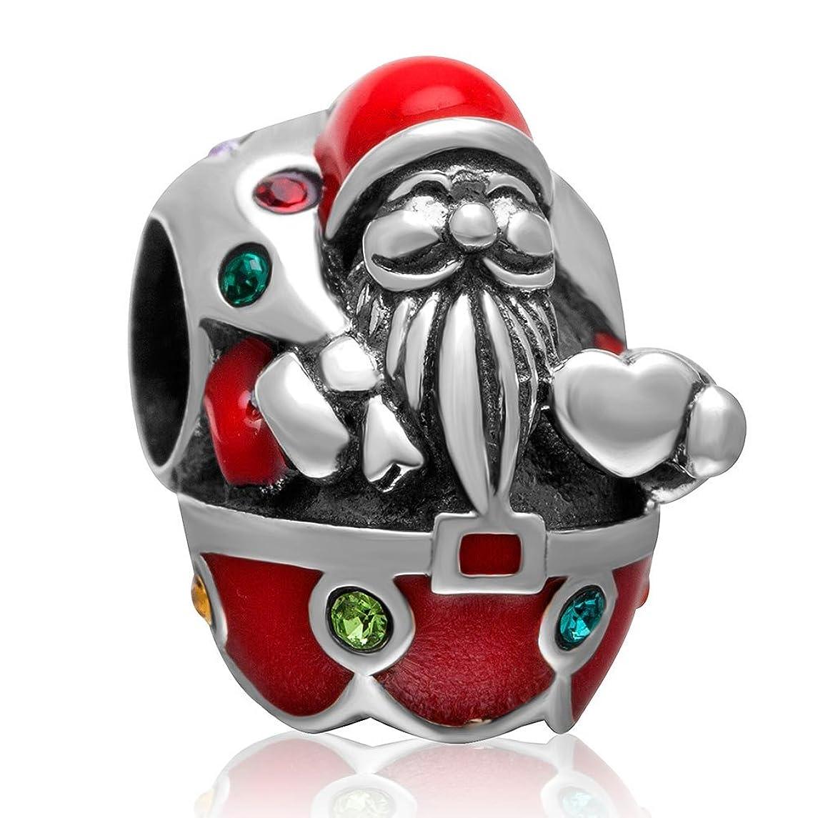 Santa Claus Charm 925 Sterling Silver Xmas GiftsCharm for Pandora Charm Bracelet (colour Santa Claus)