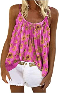 Women O-neck Sleeveless Tank Tops, Ladies Summer Floral Printed Vest T-shirt Blouse Tunic Top