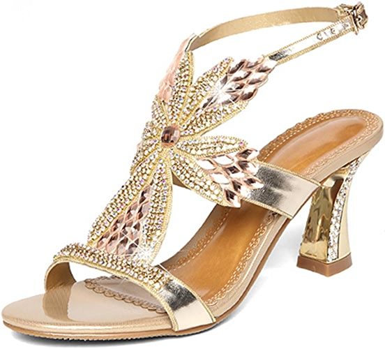 MNII femmes Slip On Diamond Bridal Stiletto Faible Mid talons Sandales Mariage- élégant et beau