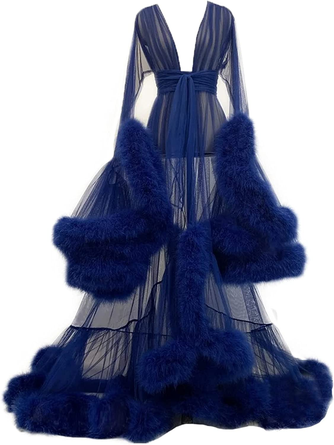 Maternity Feather Robe for Photoshoot Illusion Nightg Sexy outlet Finally popular brand Tulle