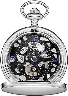 Lwieui Reloj de Bolsillo Reloj de Bolsillo Hueco de Tallado mecánico con Tapa Romana, maquinaria clásica Romana, Plata (Co...