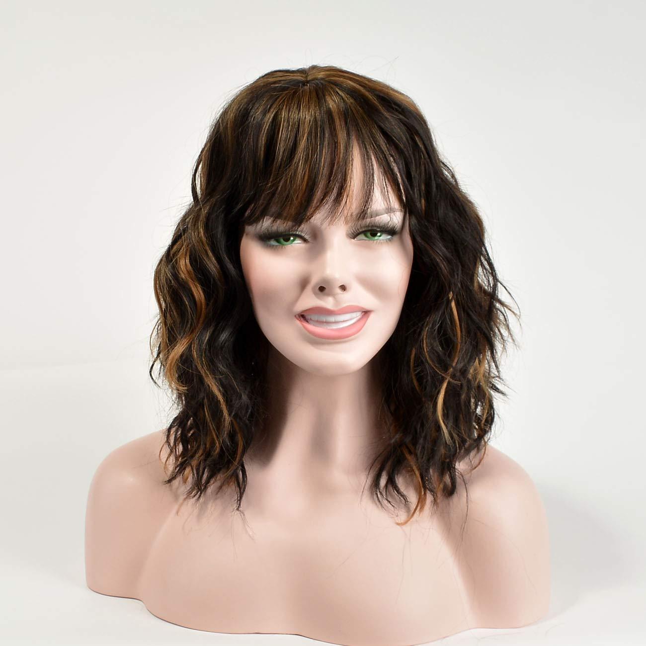Foruiya Synthetic Short Max 59% OFF Curly Bob Wigs W Natural Wavy Hair Bargain Weave