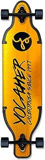 Yocaher Aluminum Gold or Black Series Skateboards Longboard Drop Through Complete or Deck Cruiser w/Black Widow Premium Black Grip Tape, Heavy Duty Aluminum Alloy Truck, ABEC-7 Bearing, 62mm Wheels