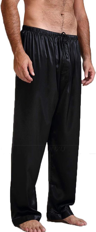 Pinkdeer Men Solid Color Nightwear Satin Silk Sleepwear Pajamas Long Lounge Pants