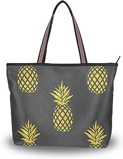 Women Tote Shoulder Bag Vintage Handbag Gold Pineapple Tote Bag Top Handle