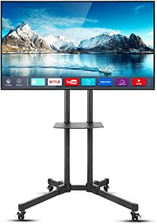 UNHO Mobile TV Stand with Wheels Height Adjustable TV Floor Mount Stand Universal TV Cart Stand with Two Floating Shelf fo...
