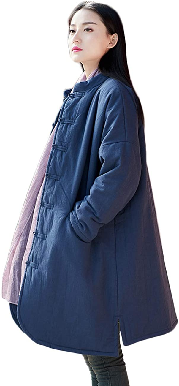 LZJN Women's Cotton Padded Coats Mid-Length Quilted Chinese Style Winter Jackets