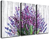 Lavender Wall Art Bathroom Decor Purple Flower Pictures for Bedroom Rustic Floral Canvas Home Decorations Prints 12x16' Modern Blossom Painting Vintage Living Room Kitchen Artwork Posters 3 Panels