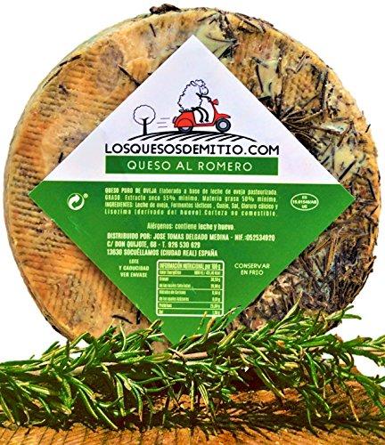 Queso de oveja al romero gourmet con caja de madera premium (español, curado, ideal con vino, queso entero de 2kg de leche pasteurizada), de Losquesosdemitio