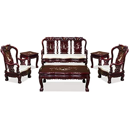 Chinese Red Rosewood Mother of Pearl Long Bench Chaiser cs962