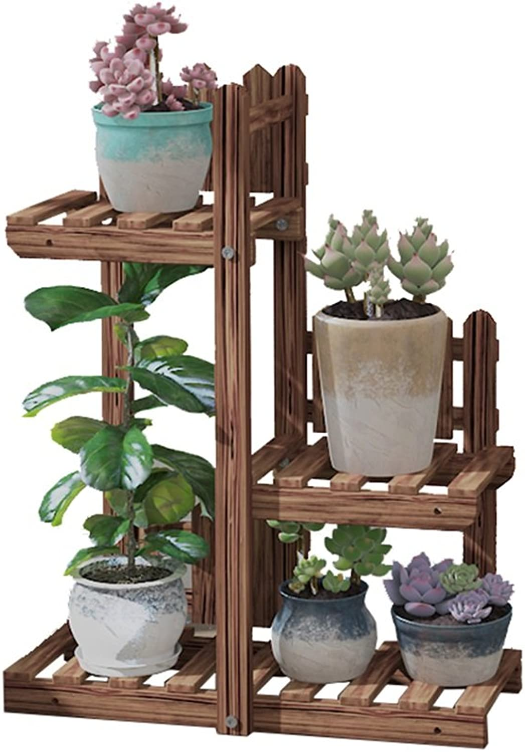 NYDZDM Wooden Flower Stand Indoor and Outdoor Multi-Story Space-Saving Solid Wood Balcony Decoration Living Room Display Flower Stand 50L×20W×65H (cm), 19.7L×7.9W×25.6H (inch) (color   Brown)