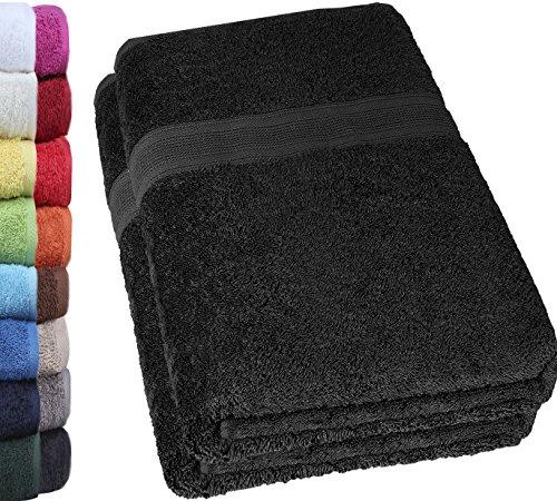 NatureMark 2er Pack DUSCHTÜCHER Premium Qualität 70x140cm DUSCHTUCH Dusch-Handtuch Doppelpack Farbe: Schwarz