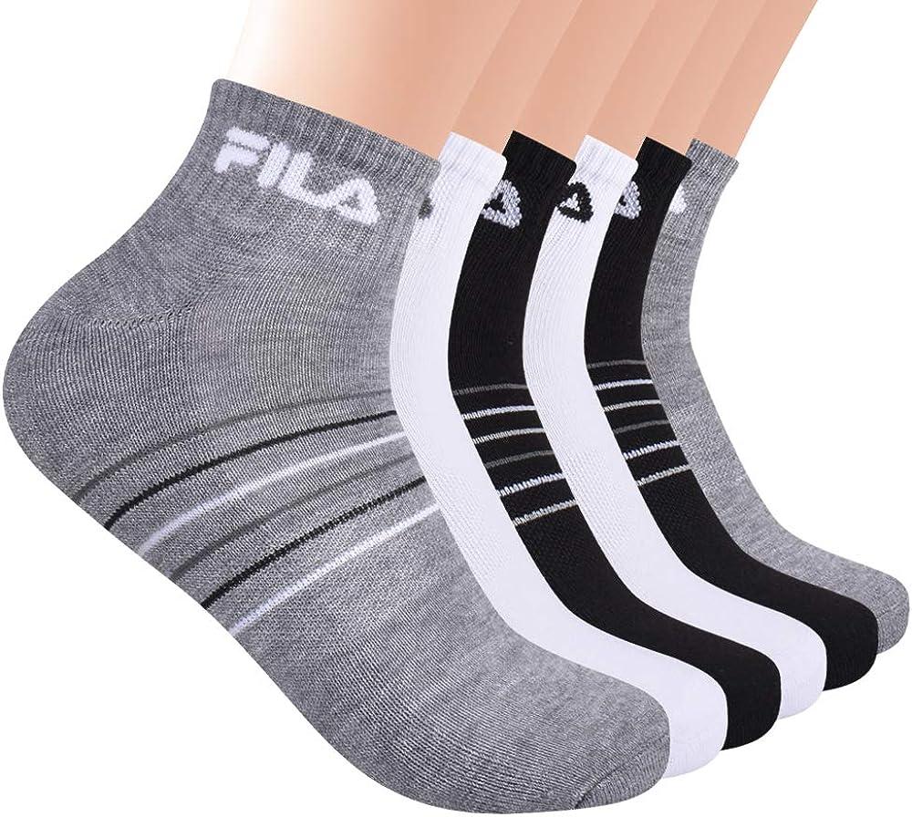 Fila mens Striped Half Cushion Quarter Socks