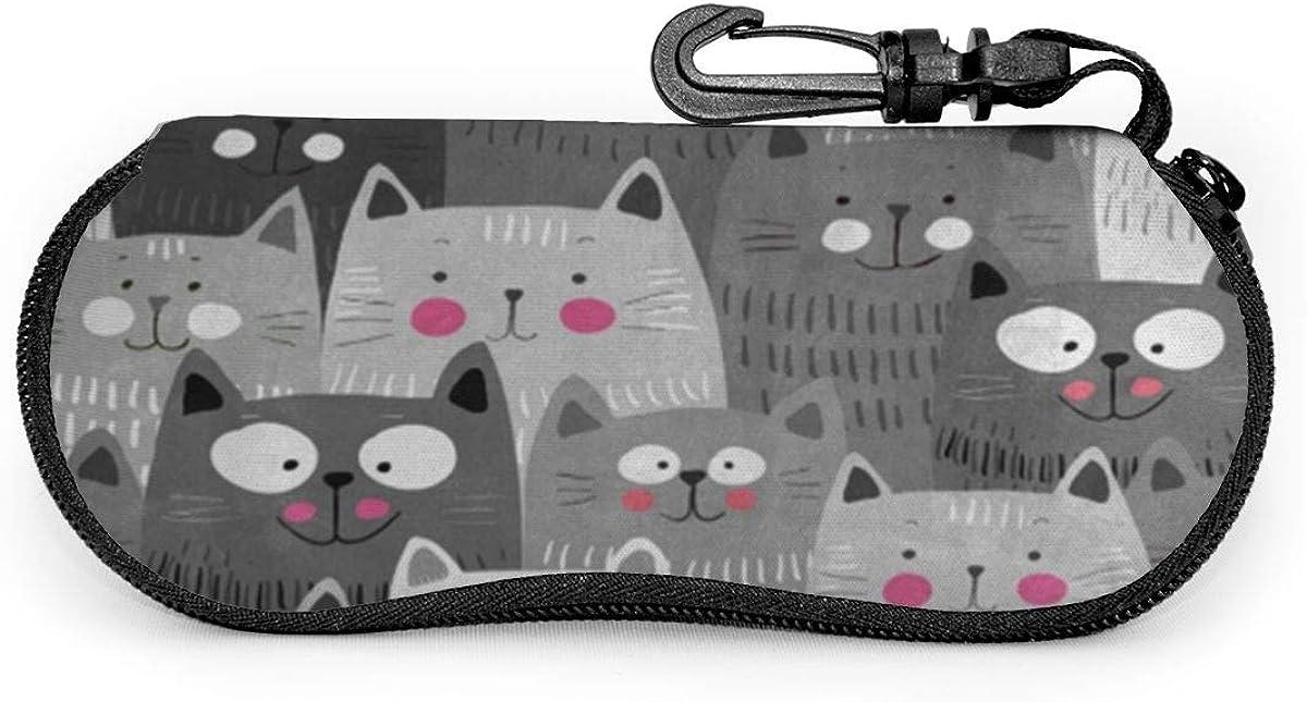 Gray Hipster Cat Kitten Sunglasses Soft Case Ultra Light Neoprene Zipper Eyeglass Case With Key Chain