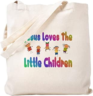CafePress Kids Jesus Loves Natural Canvas Tote Bag, Reusable Shopping Bag