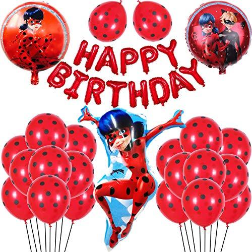 Ladybug Set de Globos Globo de Papel de Aluminio Suministros de decoración de Fiesta de Feliz cumpleaños para Ladybug Superhero Girl Kids