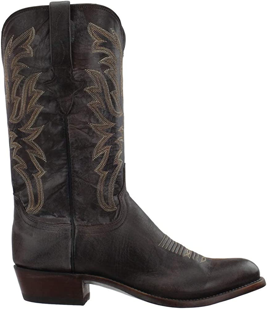Quality inspection Max 44% OFF Lucchese Mens Milo Goat Round Toe - Brown Mid Calf Boots
