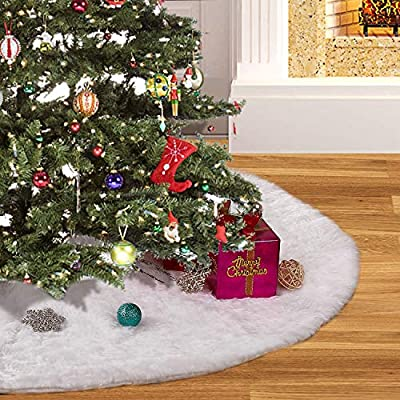 YTL Christmas 48 inches, 4 ft, Luxury White Faux Fur Tree Skirt for Xmas Holiday Decorations,Soft and Warm Pet Favors