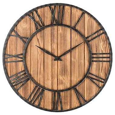 Oldtown Clocks OLDTOWN Farmhouse Metal & Solid Wood Whisper Quiet Ticking Wall Clock (Wood, 30-inch)