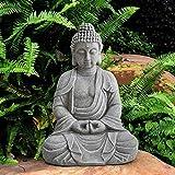 Sunjoy Rowan Buddha Garden Decor Statue, Gray