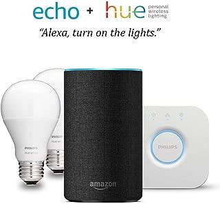 Echo (2nd Gen) - Charcoal with Philips Hue White Smart Light Bulb Starter Kit