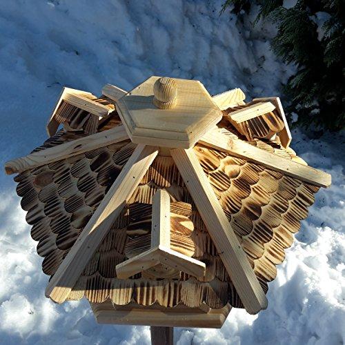 Qualitäts Vogelhaus mit Holzschindeln 6 Eck lasiert Vogelhäuser-Vogelfutterhaus großes Vogelhäuschen-aus Holz Wetterschutz (Natur) - 2