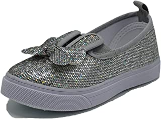 Girl's Flat Sneaker Kids Slip On Glitter Casual Oxford Outdoor Shoes