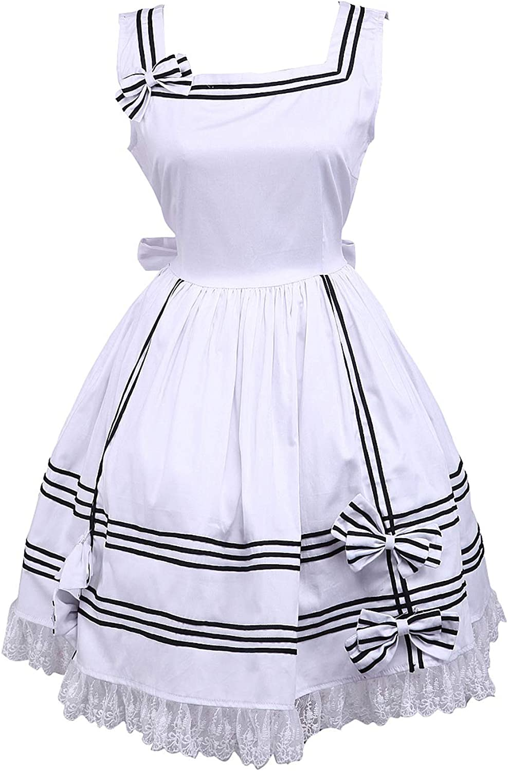 Antaina White Cotton Ruffle Lace Classic Halter Victorian Lolita Cosplay Dress