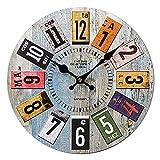 Reloj Pared Vintage, Redondo 34cm Reloj Pared Grande, Reloj de Pared Grande Salon, Reloj Pared Silencioso, Reloj de Pared Decoración para Salón, Cocina, Oficina, Dormitorio, Casa, Hotel