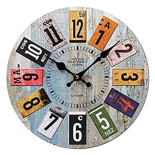 Orologio da Parete Vintage, 34cm Orologio da parete Modern Grande Cucina, Orologio da Muro Orologio da parete Moderni, Orologio da Muro al Quarzo con Movimento Silenzioso Sweep