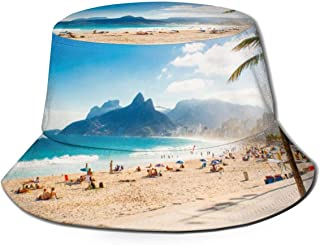 Palms and Two Brothers Mountain On Ipanema Beach in Rio De Janeiro_318248558 Fisherman's Hat,Unisex Fisherman Hat,Outdoor Sun Hat