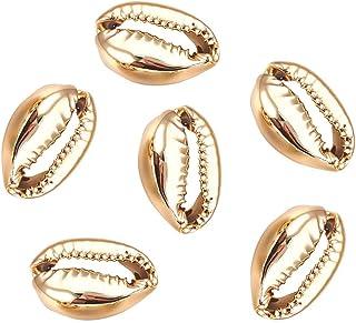PandaHall Environ 50pcs Perles de Coquillage en Or Clair, Coquilles de Cauris Perles de Coquille Galvanisées Décoration de...